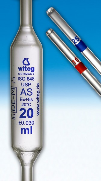 Volumetric pipettes USP blue graduated