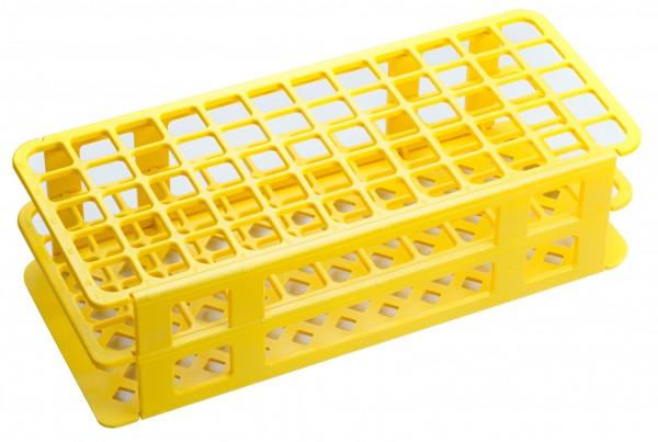 Gestelle für Reagenzgläser, Kulturröhrchen und Reaktionsgefäße gelb