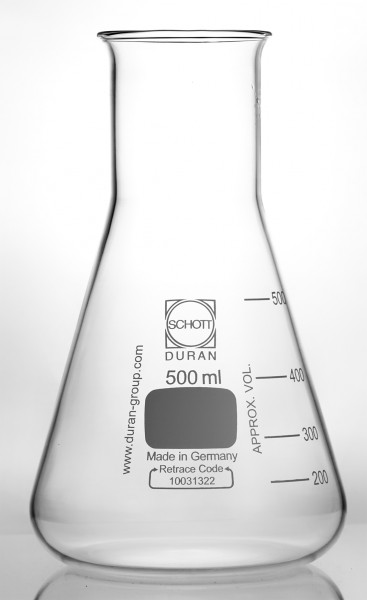 Erlenmeyer flask wide neck with rim