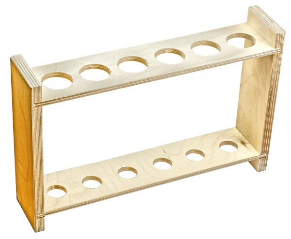 Gestelle für Reagenzgläser und Kulturröhrchen aus poliertem Holz
